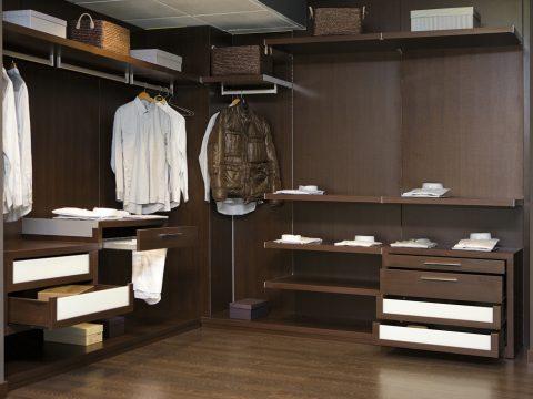 dark wood European style custom closet