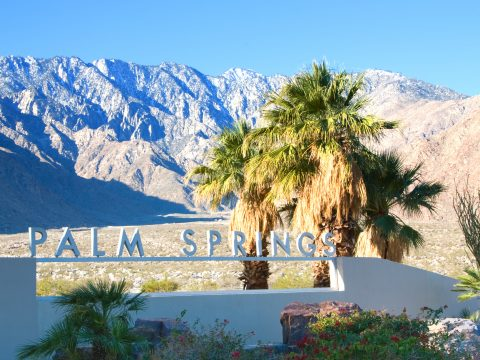 Palm Springs California , USA-February 7th, 2016:Palm Springs Sign in Palm Spring California USA
