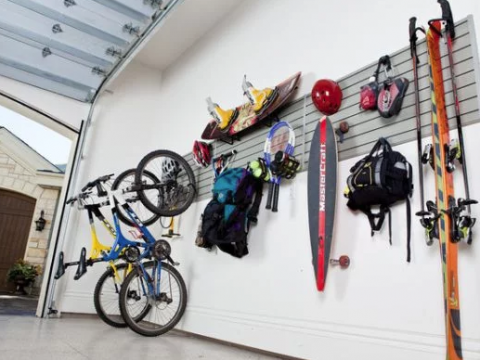 bikes hung on slat wall garage system in Brentwood, Los Angeles