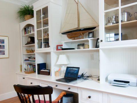 office, home, business, computer, laptop, workspace, study, elegant, chair, desk, built-in, built, library, white, ergonomic